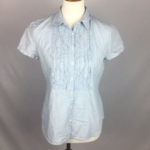 J. Crew Stripped Ruffle Front Button Down Top